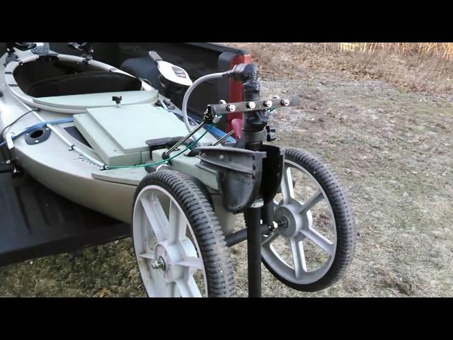 Heritage Featherlite kayak rear trolling motor with foot steering
