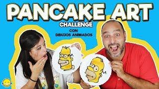 PANCAKE ART CHALLENGE!!! Pancakes RETO!!!Con dibujos animados!!