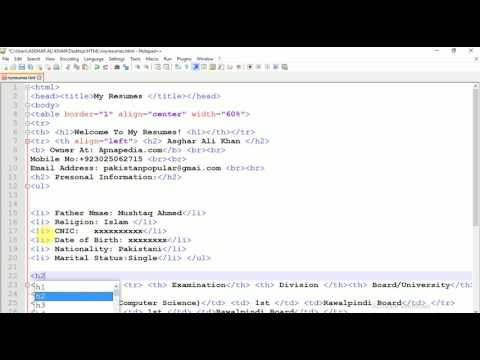 Creating CV In HTML | Video # 2 Of 3