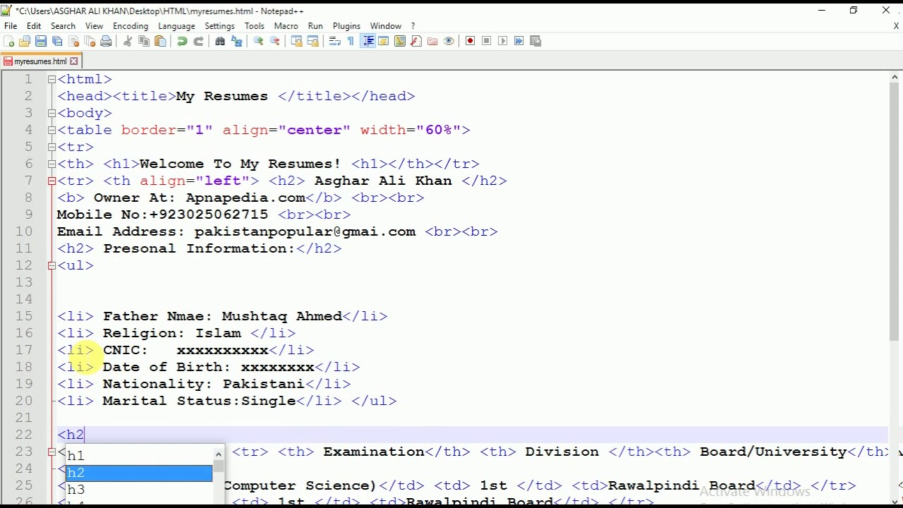 Creating Cv In Html Video 2 Of 3 Youtube