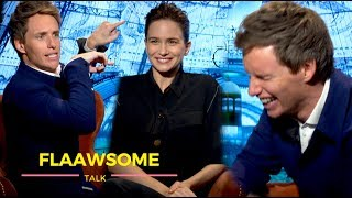 Eddie Redmayne ★ Cracking Up ★ w Katherine Waterston over Silly Emojis 🙏 And Being Shirtless
