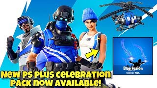 NEW FORTNITE PLAYSTATION PLUS CELEBRATION PACK 6 AVAILABLE NOW! (COAXIAL BLUE GLIDER, BLUE FUSION)
