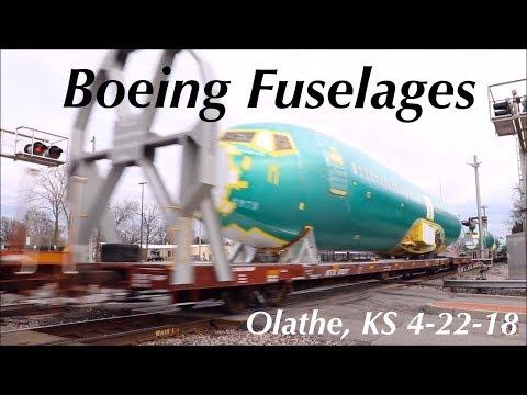 EB Boeing Fuselages on the BNSF Emporia Sub in Olathe, KS 4-22-18