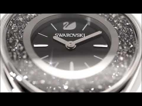 eb9adf204cb1 Swarovski Silver Tone Black Crystalline Oval Bracelet Watch - YouTube