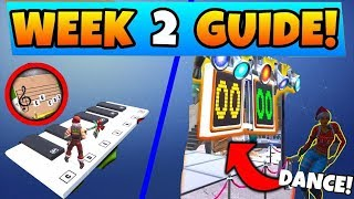 Fortnite WEEK 2 CHALLENGES GUIDE! | How to Dance OFF & Sheet Music Piano Locations (BR Season 7)