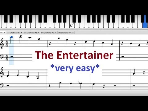 The Entertainer: Very Easy Piano Sheet Music - Simplified & Slowed Down For Total Beginners