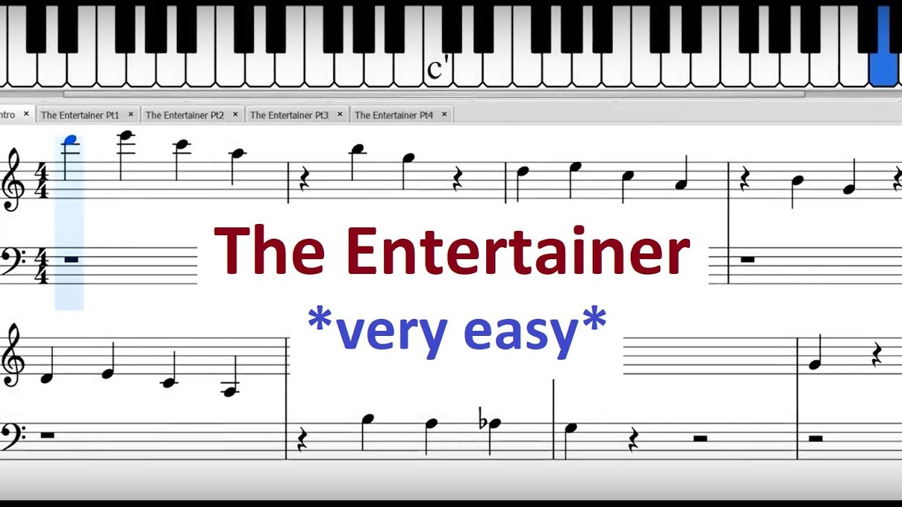 The Entertainer: Easy Piano Version For Beginners (Sheet ...