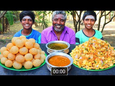PANI PURI vs MASALA PURI EATING CHALLENGE   STREET FOOD EATING COMPETITION   FOODIES GOLGAPPA EATING