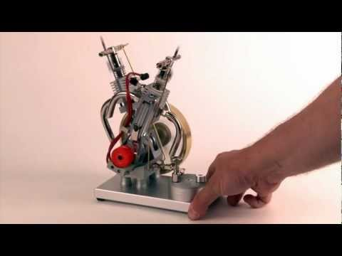 Butane Gas Powered Engine - Double Cylinder V2 with Piezo Ignition
