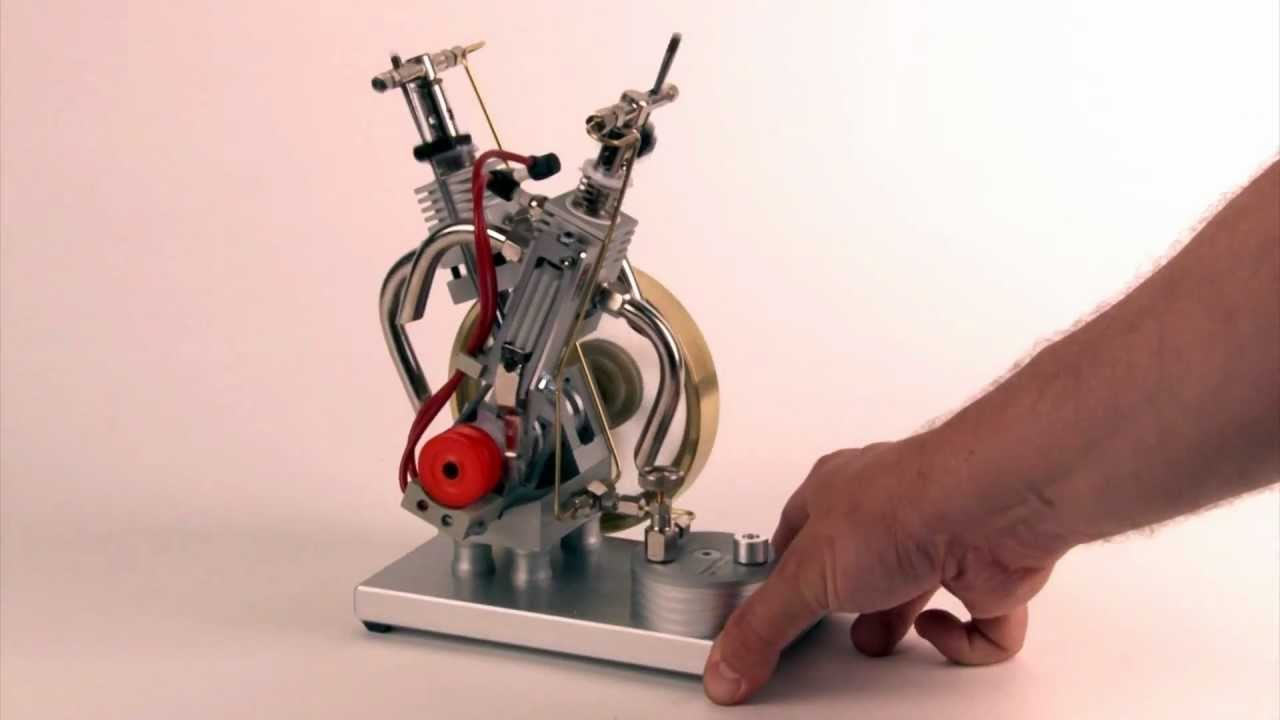 butane gas powered engine double cylinder v2 with piezo ignition