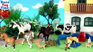 Schleich Farm World Horse Puppy Pen and Farm Animals Toys For Kids