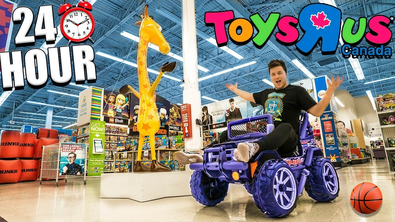 24 HOUR CHALLENGE AT TOYS R US! Sleepover With Toys, Cars, & More (Part 1)