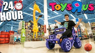 24 Hour Challenge At Toys R Us! Sleepover With Toys, Cars, & More Part 1