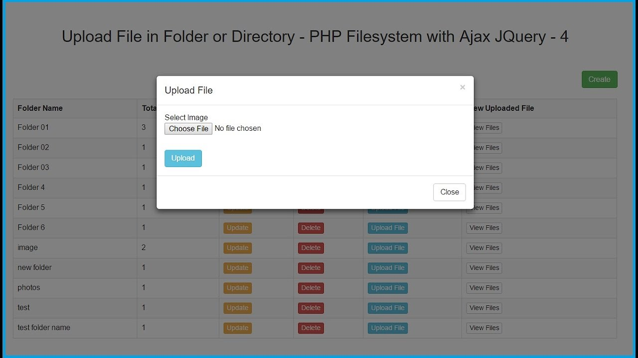 Upload File in Folder or Directory - PHP Filesystem with Ajax JQuery - 4