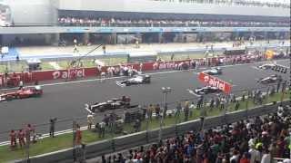 Indian Grand Prix F1 Natural Start Sound 2012 Formula one ( LOUD V8 ) HD