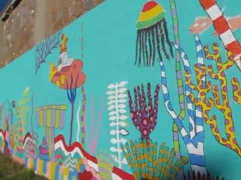 Undersea Mural Graffiti Art Along Wall In Montevideo Uruguay