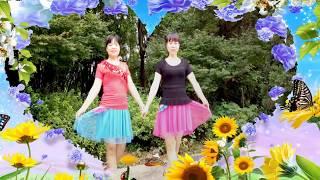 双胞胎姐妹跳双人舞 默契组合 简单双人对跳步子舞
