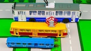 МАШИНКИ ТЕХНО ПАРК. ПАССАЖИРСКИЙ ТРАНСПОРТ. Троллейбус, Трамвай, Вагон метро. Видео для детей.