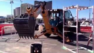Video still for Triple Threat Rodeo - Loader Backhoe Open Challenge Competitor @World of Concrete   YouTube