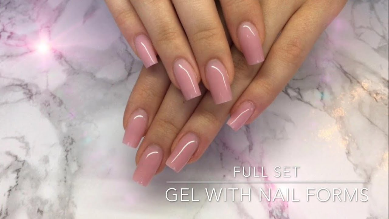 Full Set Of Gel Nails With Nail Forms Crispynails