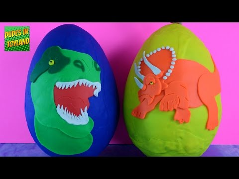 Thumbnail: Play Doh Dinosaurs Eggs Surprise dino Jurassic World toy videos for kids