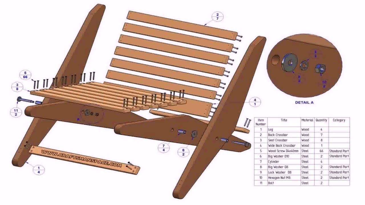wood patio lounge chair plans youtube