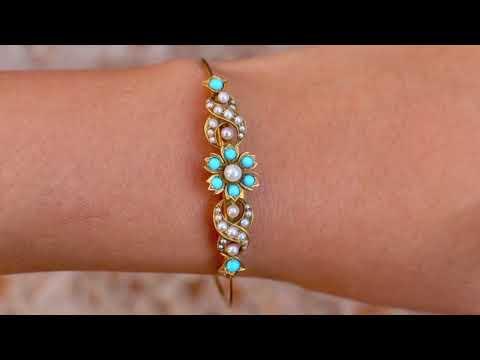 Victorian Turquoise Natural Pearl Floral Antique Bracelet 14k Gold