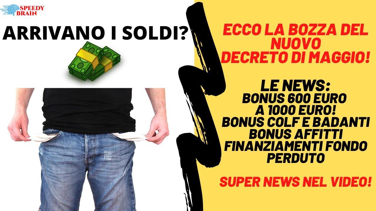 BOZZA DECRETO DI MAGGIO FINALMENTE! BONUS DA 600 EURO A 1000 EURO ...