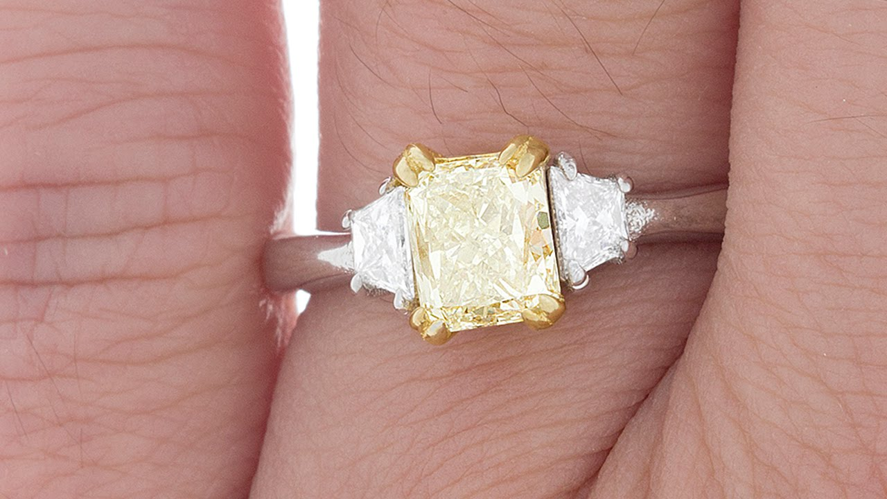 Two Tone Radiant Fancy Yellow Diamond Ring Trapezoid Side (11-07-003 ...