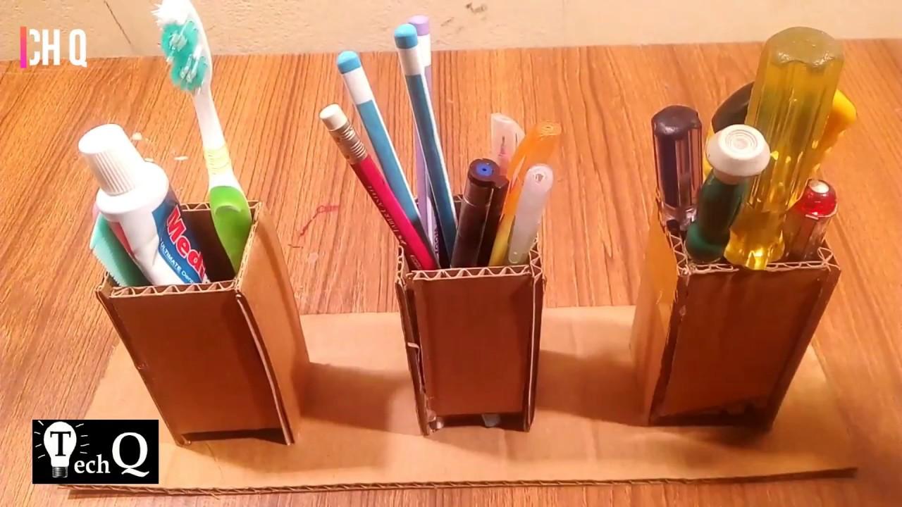 Cardboard Pencil Holder || DIY. Tech Q