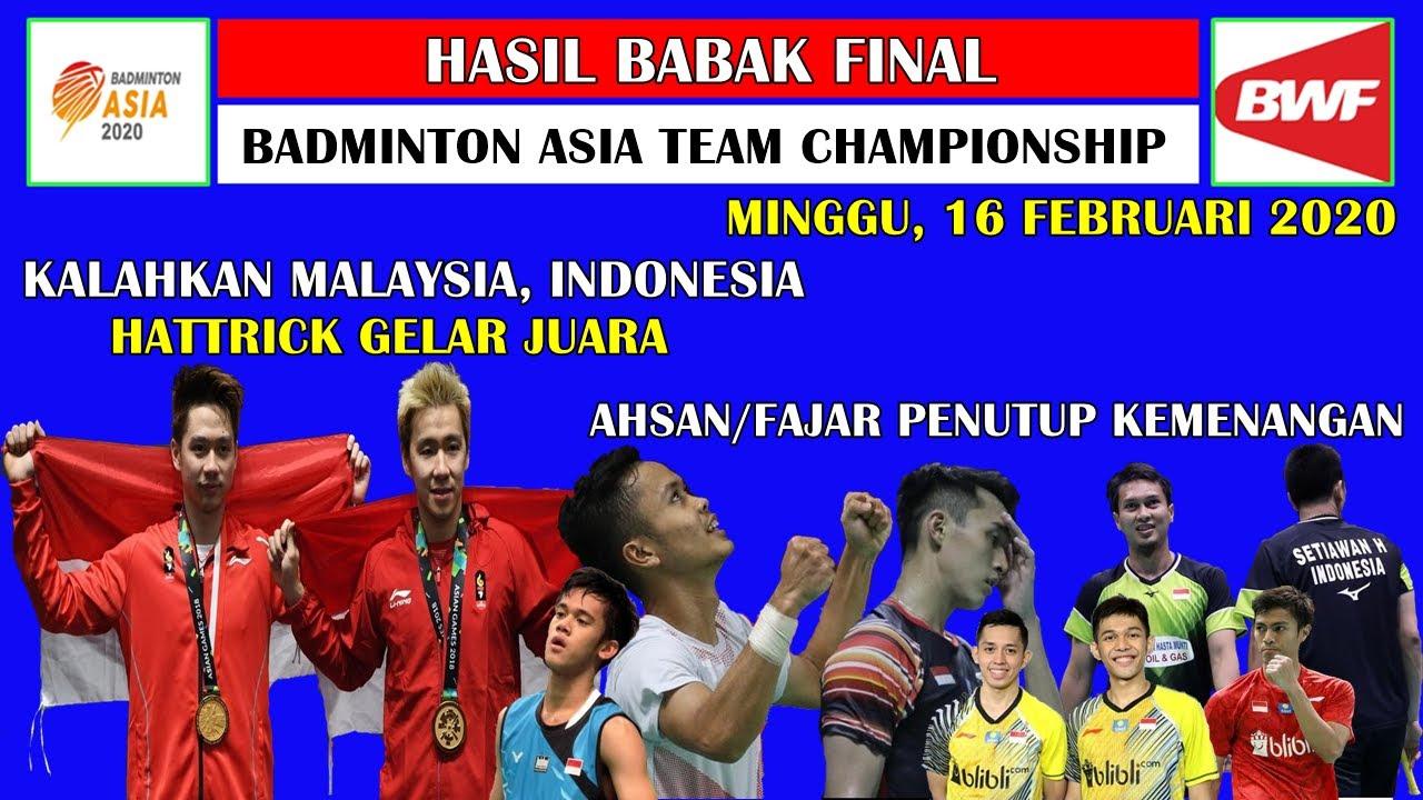 Hasil Final Badminton Asia Team Championship 2020