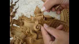 Wood Carving Repair 2b - Tiki Thai Arts