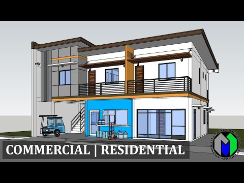Two Storey Commercial and Residential Building Design | Apartment
