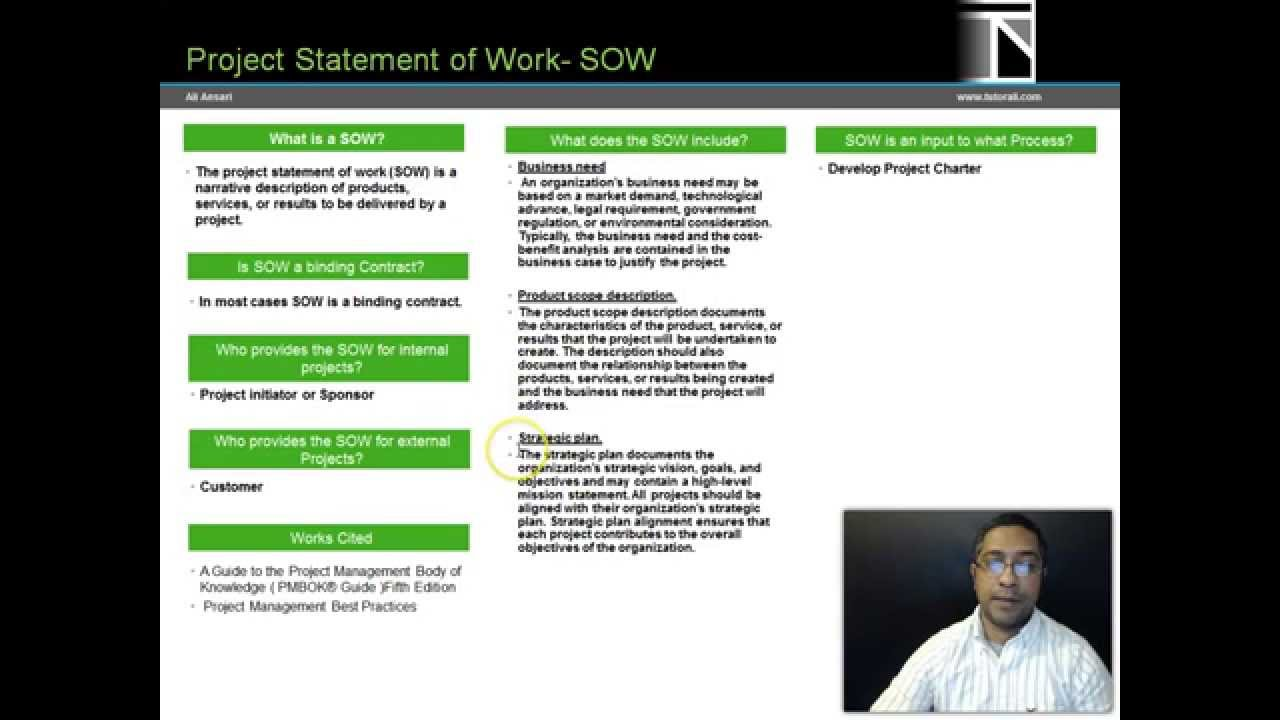 project statement of work pmi pba pmp pmbok 5 youtube