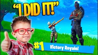 """OMG I DID IT!"" GETTING A LITTLE KID A VICTORY - Fortnite Battle Royale!"