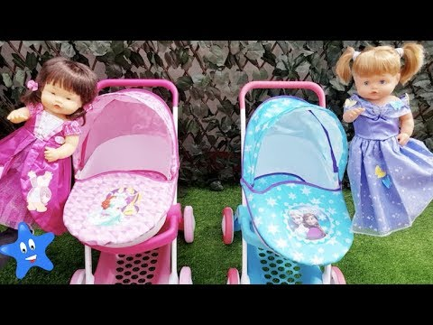 Ani y Ona Nenuco ESTRENAN CARRITOS de Frozen y Princesas Disney y hacemos un picnic