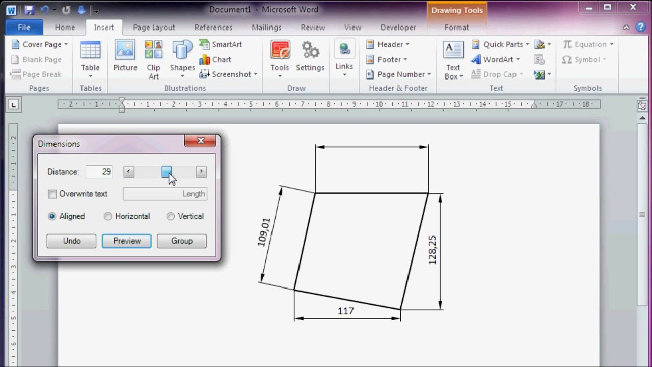 CAD like Dimensioning in Microsoft Office Word 2010 - YouTube
