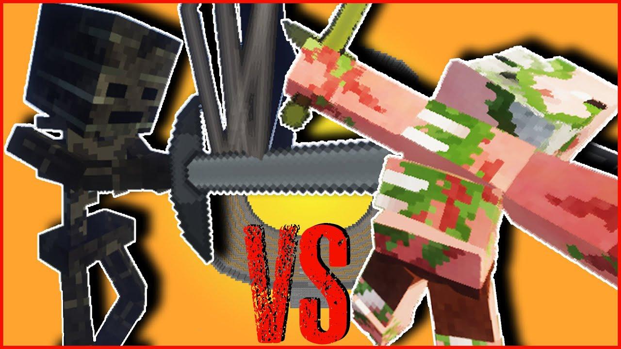 Minecraft - WITHER SKELETON TITAN VS ZOMBIE PIGMAN TITAN  TITANS MOB BATTLE