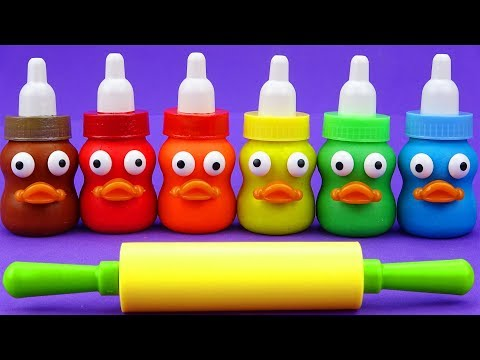 Learn 6 Colors Play Doh In Baby Milk Bottle Animals Toys Nursery Rhymes Kinder Surprise Eggs