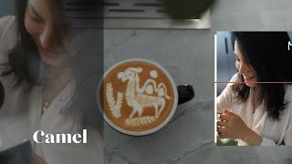 Double Humps Camels Latte art by JIBBILITTLE, using JIBBIJUG Ironman 600ml