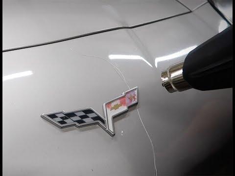 C6 Corvette Emblem Badge Removal Before Vinyl Wrap