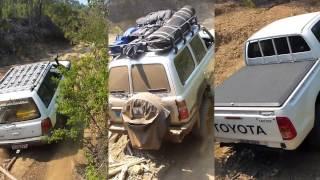 Subaru Vs LandCruiser Vs Hilux on chewed out hill climb.