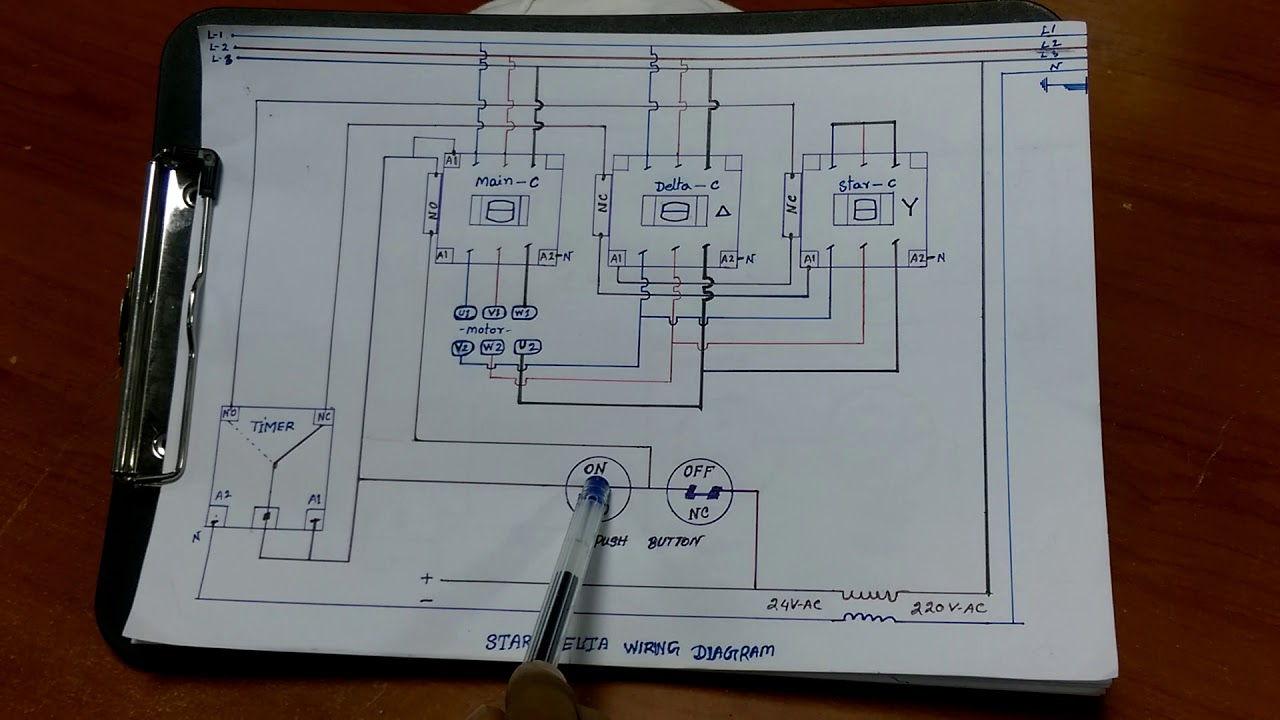 Star delta starter motor control with circuit wiring