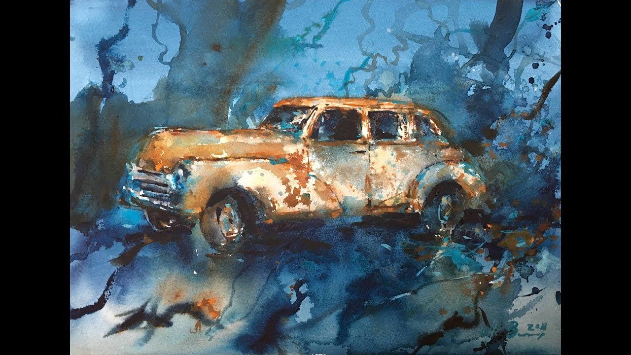 Old car Watercolor underwater painting tutorial ...