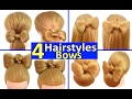 4 Quick & Easy Everyday Hairstyles using HAIR BOWS! - PEINÓPOLIS