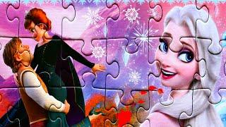 Принцесса Эльза Кристофф и Анна собираем пазлы для детей с героями мультика Холодное сердце 2 Frozen