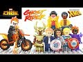 Marvel Captain America Luke Cage X-Men Jubilee Ghost Rider w/ Hell Cycle Unofficial LEGO Minifigures
