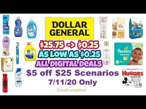 Dollar General $5 Off $25 Scenarios 7/11/20! All Digital Deals! Glitch Deals!