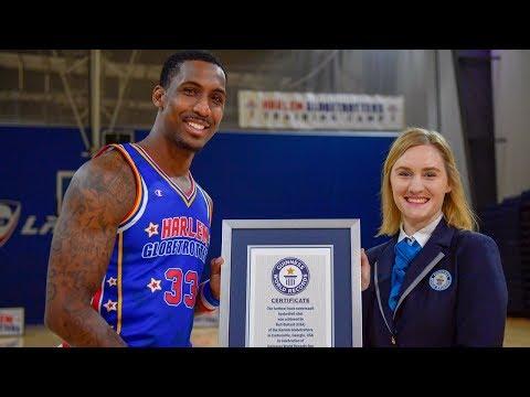 Longest Backflip Shot | Harlem Globetrotter Guinness World Record