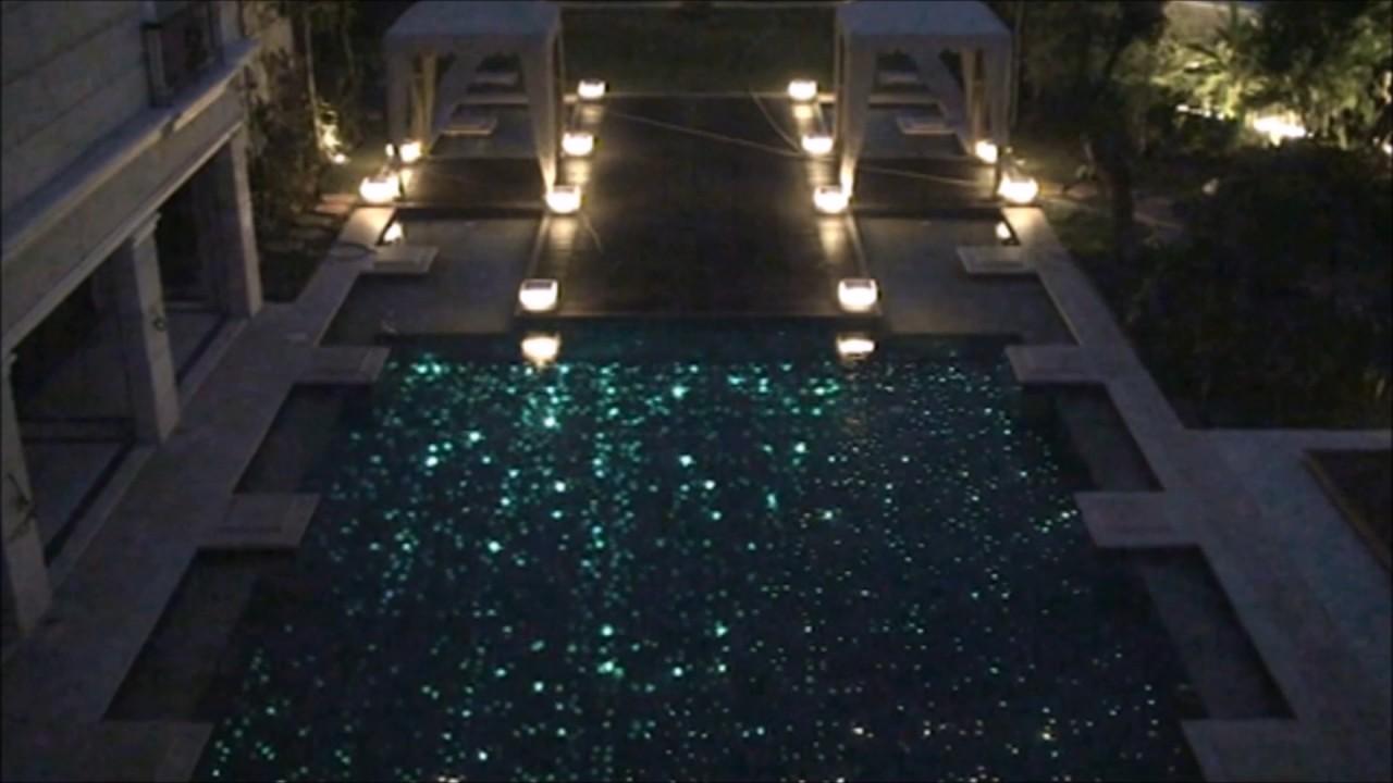 BM5 fiber optic lighting on the floor of swimming pool